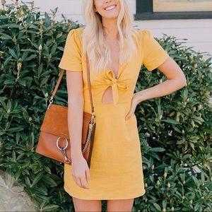 Socialite Dresses - Socialite Mustard Jillian Tie Front Minidress